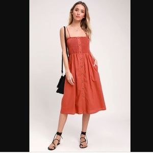 NWT Lulu's Made To Love Terra Cotta Smocked Midi